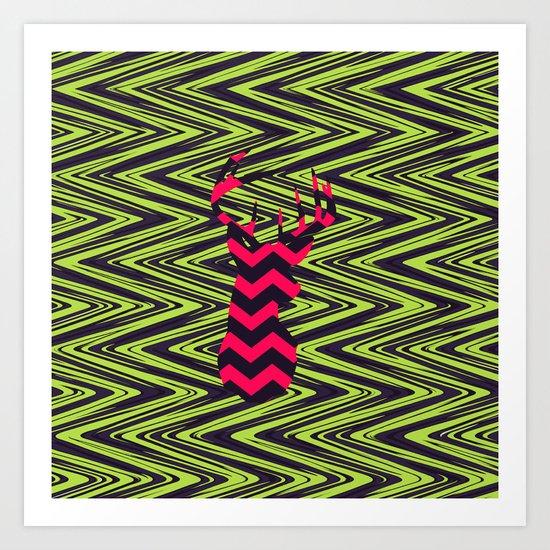 Electric Deer | Hipster Neon Pink Deer Head Modern Green Chevron Art Print