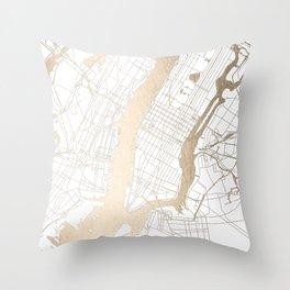 New York City White on Gold Throw Pillow