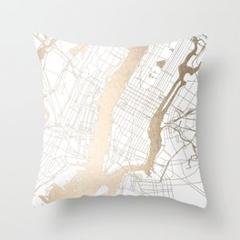 New York City White on Gold Throw Pillow