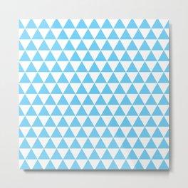 Light Blue Triangle Pattern Metal Print