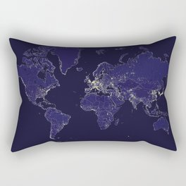 The world map at night with outlined countries Rectangular Pillow