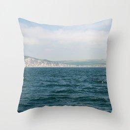 Travel photography I Coastline art print I Ocean I Shoreline France I Blue & green I France I ocean I Fine print art Throw Pillow