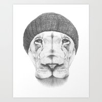 hipster lion Art Prints featuring Hipster Lion Drawing  by Brandon Taylor Scott