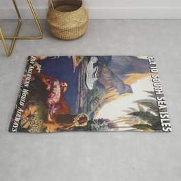 Fly to South Sea Isles, American Airways Vintage Travel Poster  Rug