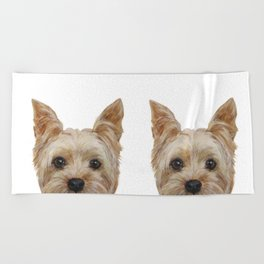 Yorkshire Terrier original painting print Beach Towel