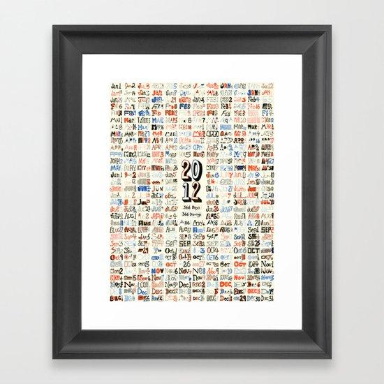 2012 Calendar // 366 Days // 366 Drawings Framed Art Print