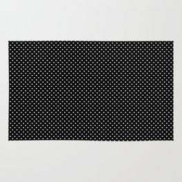 Classic White Polka Dot Hearts on Black Background Rug