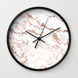 Modern chic faux rose gold white marble pattern Wall Clock
