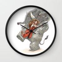 bouletcorp Wall Clocks featuring Elephant Hug by Bouletcorp