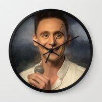 tom hiddleston Wall Clocks featuring Nerd Tom by Andi Robinson