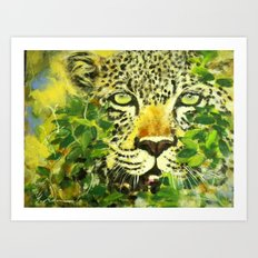Wildlife Painting Series 3 - Leopard in preying pose Art Print
