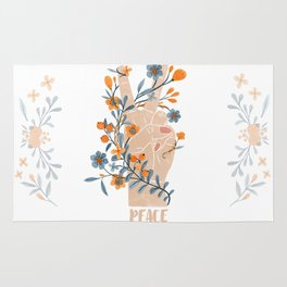 Peace Sign With Orange Flowers, Blue Flowers And Vines Rug