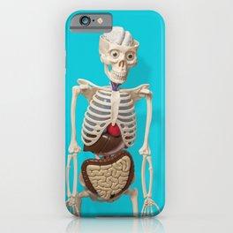 Medical Skeleton on Blue Background iPhone Case