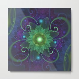Glowing Blue-Green Fractal Lotus Lily Pad Pond Metal Print