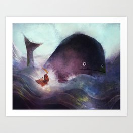 Racing the Whale Art Print
