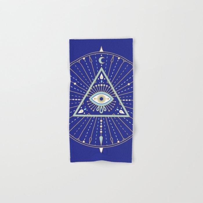 Evil Eye Mandala – Navy Hand & Bath Towel