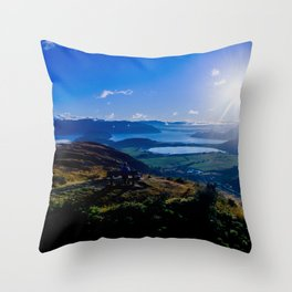 lake wanaka covered in blue colors new zealand beauties and mountains at sunrise Throw Pillow