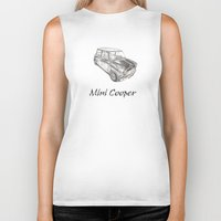 mini cooper Biker Tanks featuring Mini Cooper by CARZINART
