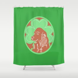 Irish Setter with Shamrock Shower Curtain