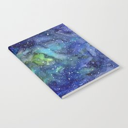 Space Galaxy Blue Green Watercolor Nebula Painting Notebook