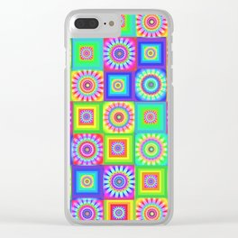 Multicoloured Patchwork Flowers Hippy Style Clear iPhone Case