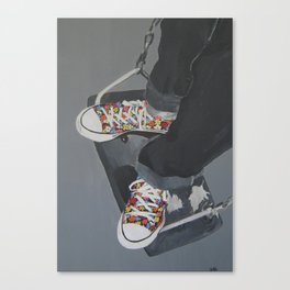 Flowered Converse shoes on a swing Canvas Print