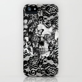 Rose skull on black lace base. iPhone Case