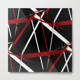 Seamless Red and White Stripes on A Black Background Metal Print