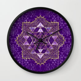 Sri Yantra  / Sri Chakra Gold and Amethyst Wall Clock