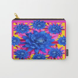 Decorative Puce Fuchsia Color Blue Tropical Flowers Pattern Carry-All Pouch