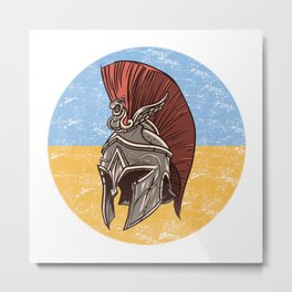 Ukraine Ukrainian Spartan  TShirt Warrior Shirt Flag Gift Idea Metal Print