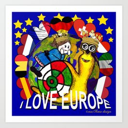 Monsieur Jac & Lily love Europe Art Print