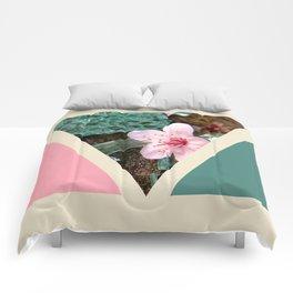 geometrical pastel bloom Comforters