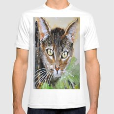 The Curious Tabby Cat White MEDIUM Mens Fitted Tee
