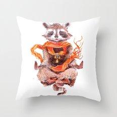 Raccoon meditates (female) Throw Pillow