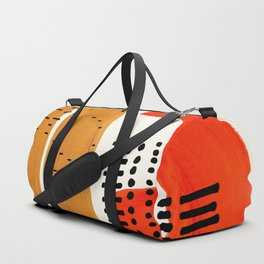 Mid Century Modern Abstract Minimalist Retro Vintage Style Fun Playful Ochre Yellow Ochre Orange Sha Duffle Bag