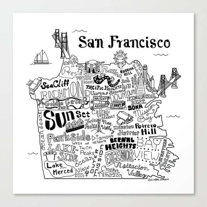 San Francisco Map Illustration Canvas Print By Clairelordon Society6