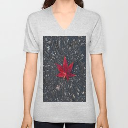 Red Leaf Unisex V-Neck