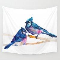 takmaj Wall Tapestries featuring Blue Jays by takmaj
