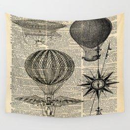newspaper print victorian steampunk airship plane hot air balloon Wall Tapestry