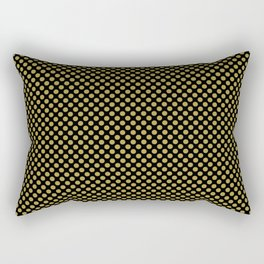 Black and Golden Olive Polka Dots Rectangular Pillow