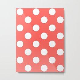 Large Polka Dots - White on Pastel Red Metal Print