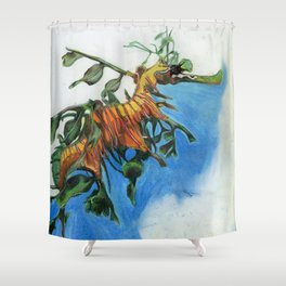 Study of a Leafy Water Dragon Shower Curtain