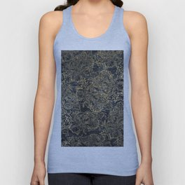 Glam black gray faux gold creased paper floral Unisex Tank Top