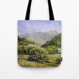 Pastures and Mount Mansfield Oil Landscape Vermont Painting Tote Bag