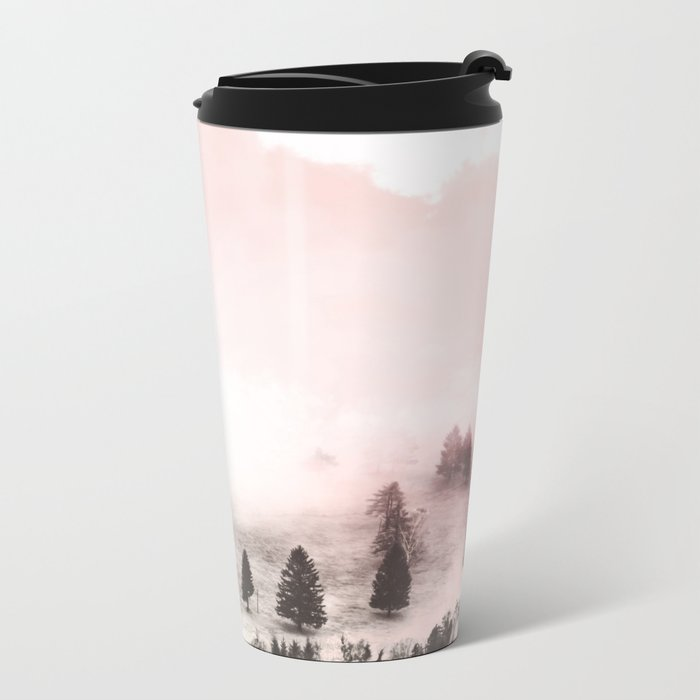 Black and white forest Metal Travel Mug