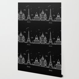 Paris Minimal Nightscape / Skyline Drawing Wallpaper