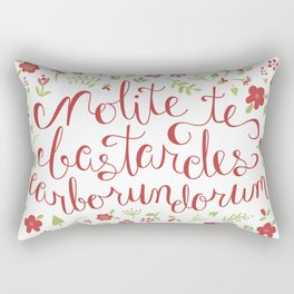 Don't Let the Bastards Grind You Down - Red Floral Rectangular Pillow