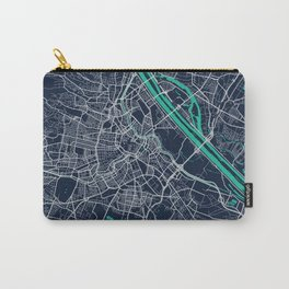 Vienna Blue Dark Color City Map Carry-All Pouch