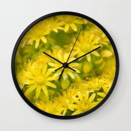 Dreamy Spiral Yellow Flowers Wall Clock